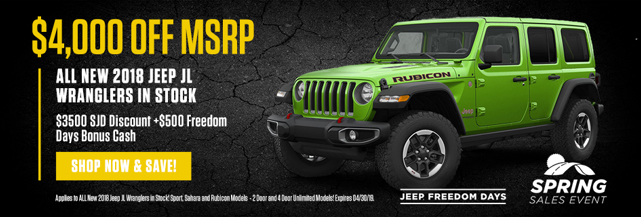 $4,000 off MSRP on all 2018 Jeep JL Wranglers in Stock